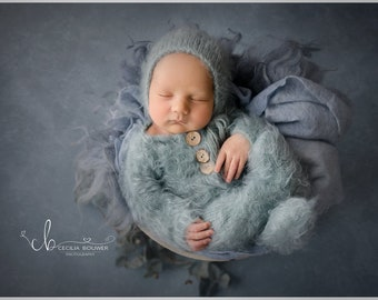 Footed sleeper, newborn photo prop, 18 colors to choose from