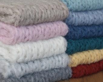 3 PACK Fuzzy blanket, knit newborn blanket, fluffy layer