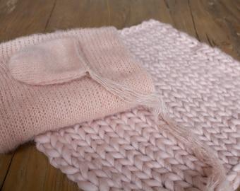 Newborn knit set, merino mini blanket, brushed alpaca bonnet and wrap, newborn photo prop