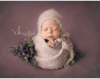 3 PACK fuzzy newborn bonnet and wrap set, newborn photo prop, 18 colors to choose from