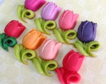 12 pcs of 8 colors of resin tulip cabochon-RC0035-mixture colors