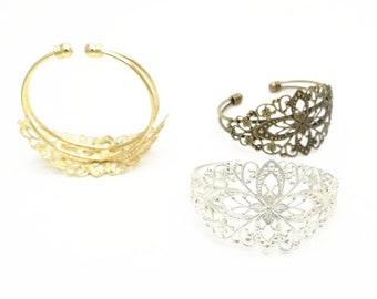 6 pcs of brass cuff bracelet with brass filigree -5509-antique bronze/gold/silver