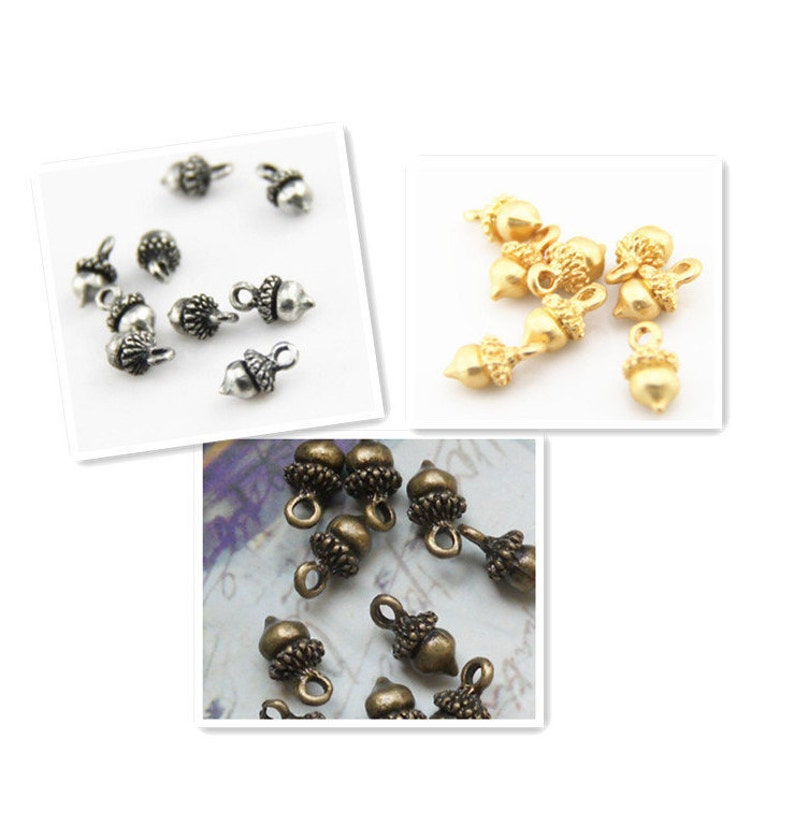 12 pcs of acorn charms 12x8mm-1223-antique silvermatte goldantique bronze