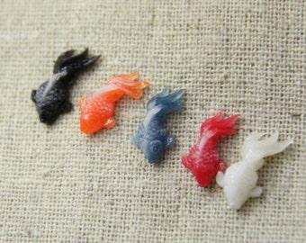10  pcs of gold fish resin cabochon tinny fish 10x8mm-0892-mix color