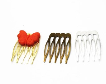 12 pcs of iron hair comb-40x25mm-6028-antique bronze/gold/Silver
