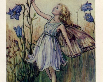 SALE Antique Color Book platePlate Print Vintage Bookplate Book of Flower Fairies The Harebell Fairy Cicely Barker 1960's