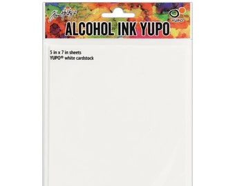 "Alcohol ink, YUPO white cardstock 5"" x 7"" by Tim Holtz, Ranger Inks"