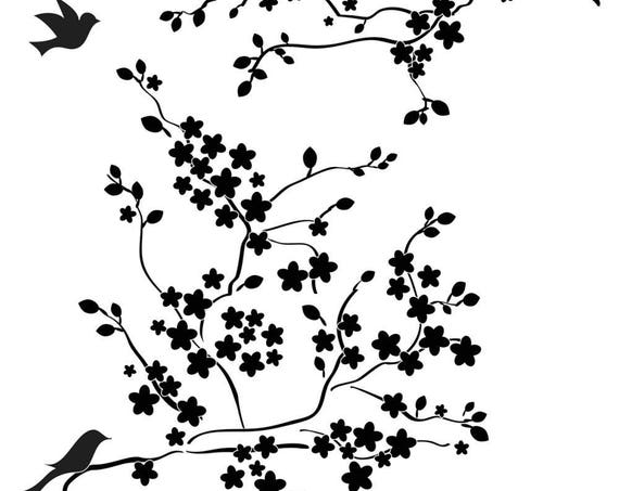 "Cherry Blossoms with Birds, 6 x 6"" Stencil /  template design perfect for mixed media, scrapbooking, journaling and so much more"