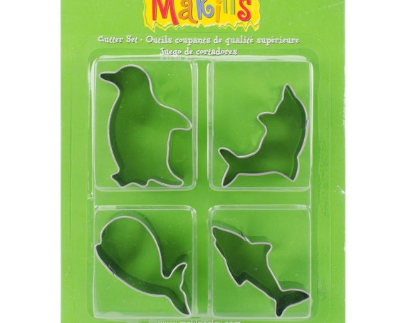 Makins 4 piece sea animals cookie or clay cutter includes penguin, dolphin, whale and shark