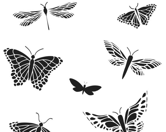 "Mini Mariposas, butterflies 6 x 6"" Stencil  template a Jaime Echt design perfect for mixed media, scrapbooking, journaling and so much more"