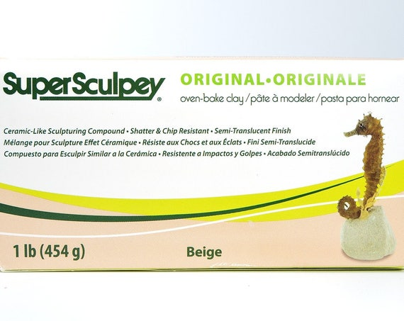 Super Sculpey original 1 lb. oven baked polymer clay, Beige color flesh, strong durable doll and sculpting polymer clay