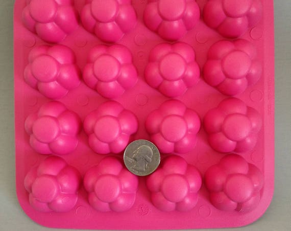16 flower mold, 3D rubber push mold for resin, fondant, cake decorating, and polymer clay