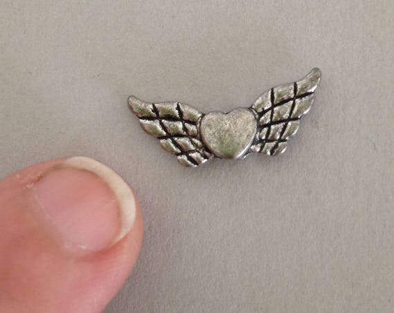 3 Antiqued silver tone heart and angel wings charm, for earrings, bracelets, pendants and other custom jewelry.