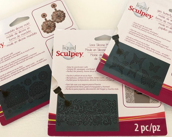 Sculpey's set of 3 Silicone mold mats includes Lace, Geo Butterfly and Mandala molds perfect for liquid polymer clay, resin crafts and more