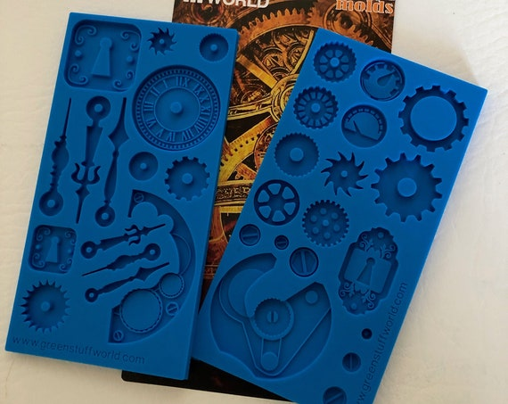 Green Stuff 2 piece Steam punk gear mold offer an assortment of gears, watch & clock parts in a variety of styles and  sizes.
