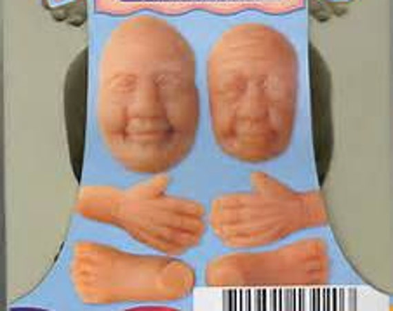 Grandma and grandpa faces push mold by sculpey includes these grandparents faces, hands, feet, and even ears
