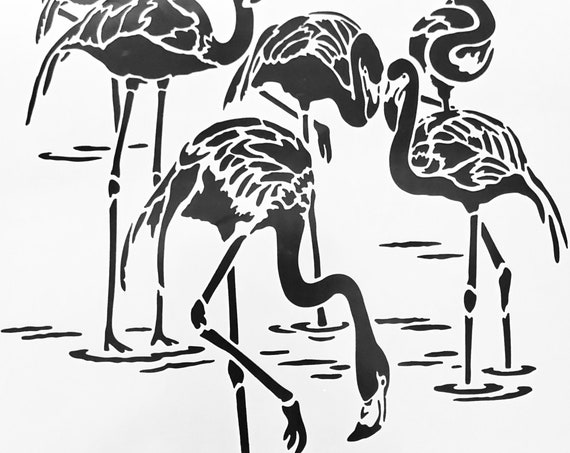 "6 x 6"" Stencil if you love tropical, and oceans than you will love these flamingos perfect for mixed media, scrapbooking, journaling & more"