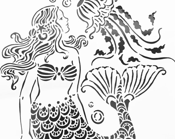 "6 x 6"" Stencil if you love tropical, and oceans than you will love this mermaid perfect for mixed media, scrapbooking, journaling & more"