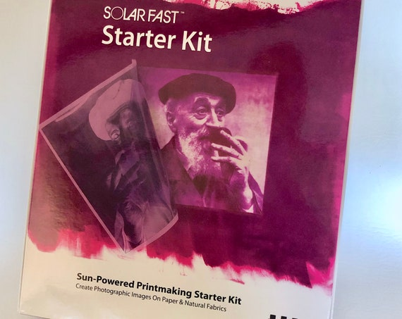 Solar Fast, sun-powered printmaking starter kit create custom images on paper and natural fabrics from photographs, hand drawings, prints