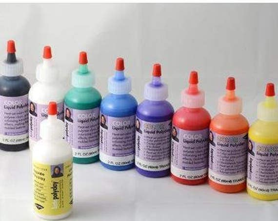 2 fl. oz. Kato liquid polyclay, available in 6 vibrant transparent colors like blue, green, yellow, red, orange, violet, white, black