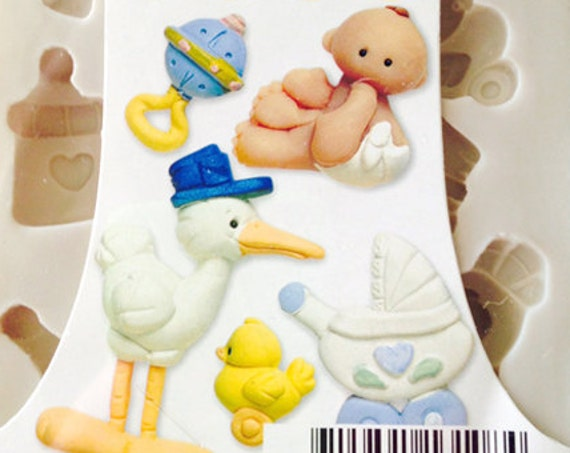 Baby I love you push mold by sculpey includes these fun new baby molds like, baby, stork, stoller,rubber duck, rattle, bottle and more