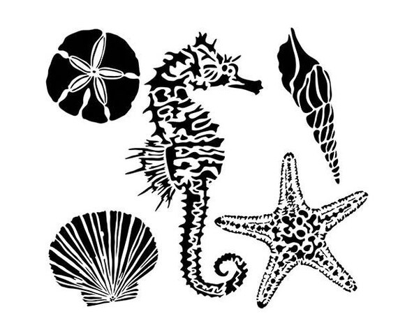 "Sea creatures 6 x 6"" Stencil /  template a Jaime Echt design perfect for mixed media, scrapbooking, journaling and so much more"