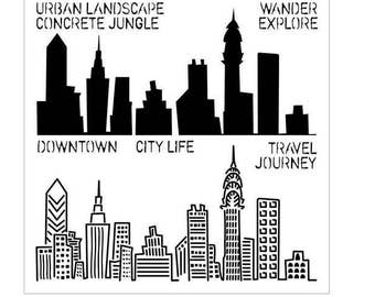 """Urban Landscape 6"""" x 6"""" Stencil /  template design perfect for mixed media, scrapbooking, journaling and so much more"""