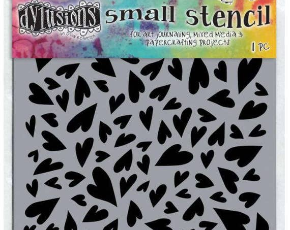 "Dyan Reaveley's Dylusions Stencils 5""X8""  small groovy heart designs perfect for mixed media, scrapbooking, journaling and so much more"