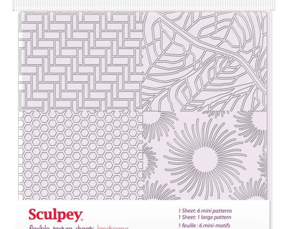 Flexible texture sheets 2 piece set, with Landscape designs by sculpey