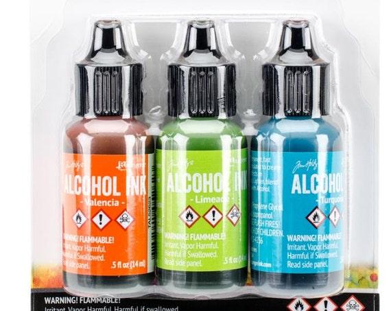 Ranger Alcohol Ink, New Color set....  Spring Break set includes 1 each, Valencia, Limeade & Turquoise