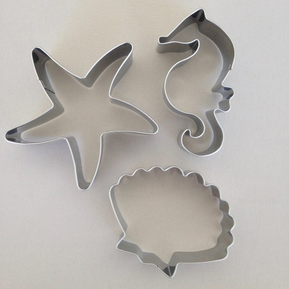 3 piece Day at the beach cookie cutters includes sea shell, seahorse, and starfish make special cookies for your beach party or beach day