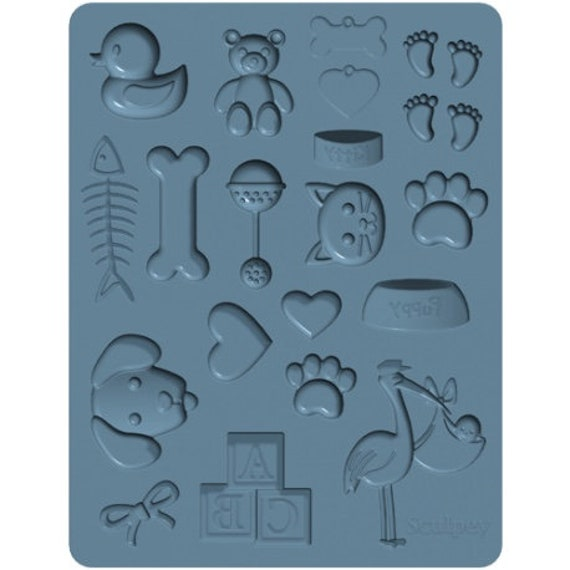 Sculpeys NEW Pet / Baby Bakeable silicone molds shapes like: paws, baby, rattle, Dog, Cat, Fishbone, Rubber Ducky, Foot Prints, Stork, Teddy