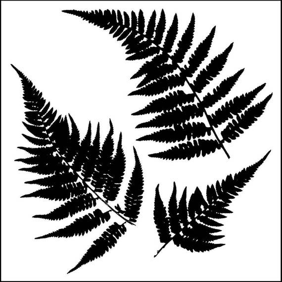 "Ferns 6 x 6"" Stencil /  template a Jaime Echt design perfect for mixed media, scrapbooking, journaling and so much more"