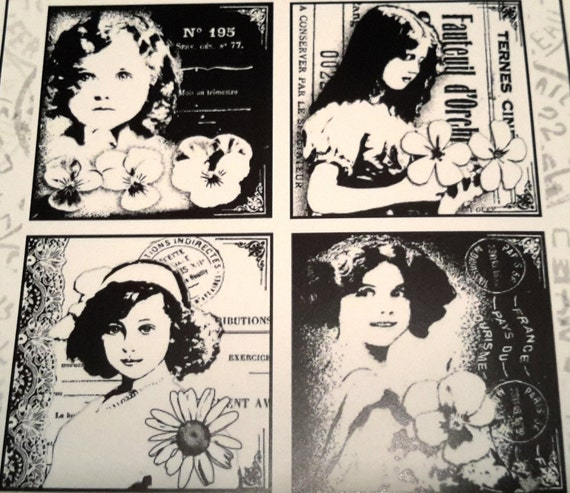 4 girls, unmounted rubber stamp this stamp offers 4 images each with its own girl with flowers with a wonderful vintage look