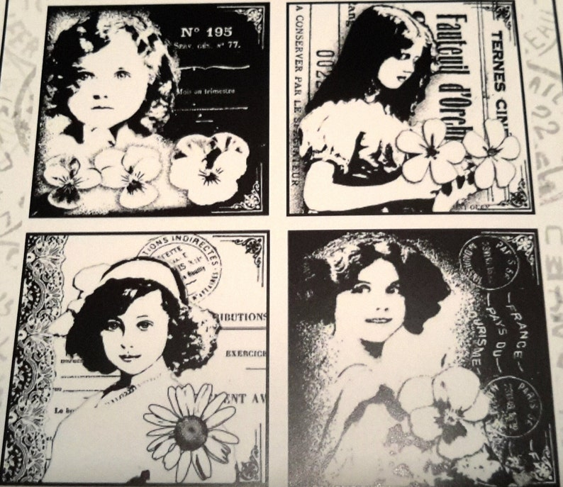 4 girls unmounted rubber stamp this stamp offers 4 images each with its own girl with flowers with a wonderful vintage look