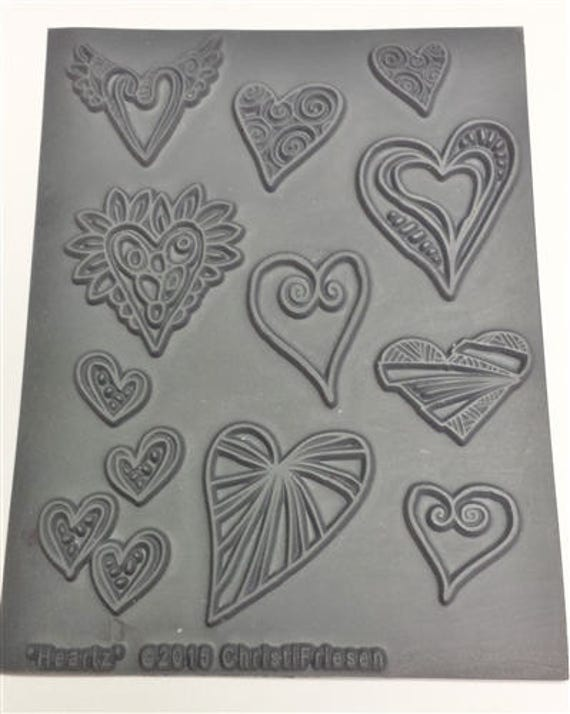Heartz by Christi Friesen an Unmounted stamp great for polymer clay and other crafts