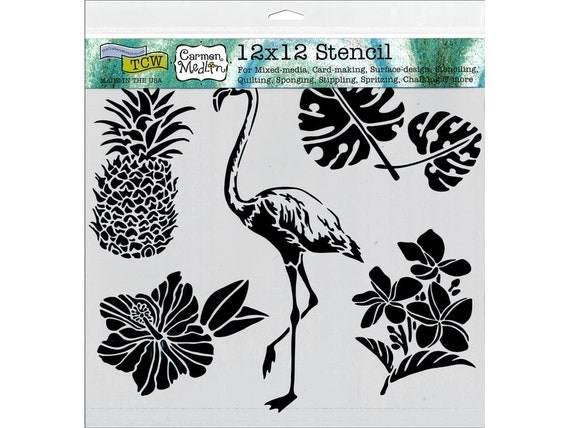 "12 x 12"" Stencil designs like pineapple, tropical leaves, hibiscus and a flamingo perfect for mixed media, scrapbooking, journaling and more"