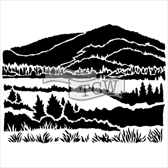 "Mountain View 12 x12"" Stencil /  template design perfect for mixed media, scrapbooking, journaling and so much more"