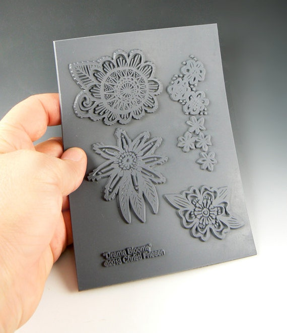 Drama Blooms an Unmounted stamp great for polymer clay and other crafts designed by Christi Friesen