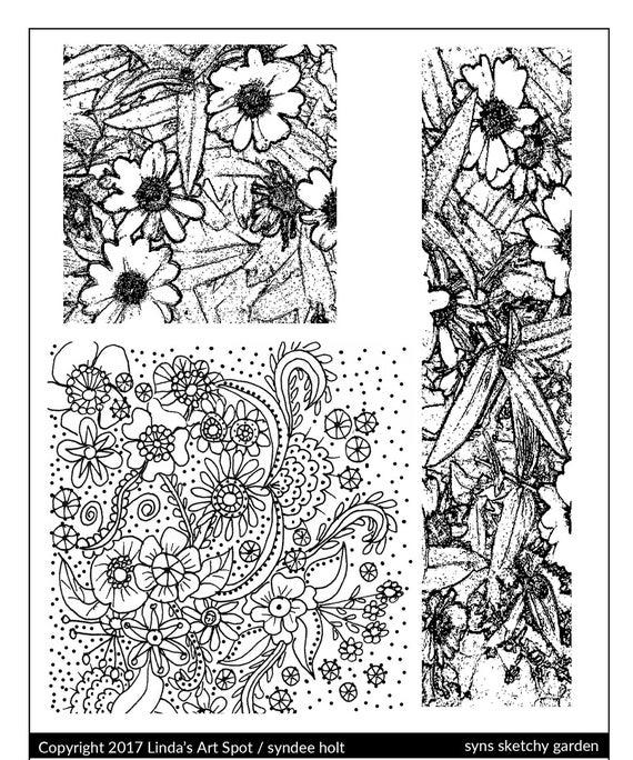 Silkscreen by syndee holt, Syns Sketchy Garden is a zen garden and original garden flora design perfect for silkscreening on polymer clay
