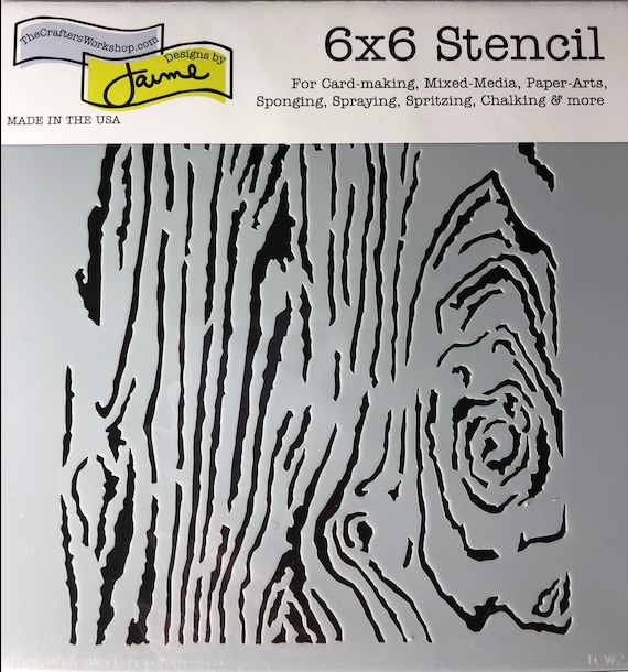 """Woodgrain 6 x 6"""" Stencil /  template a Jaime Echt design perfect for mixed media, scrapbooking, journaling and so much more"""