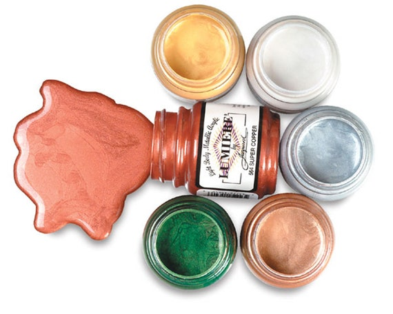 Jacquard Lumiere Metallic high quality light-bodied paints works on fabrics, leather,  polymer clay, paper, wood, and other surfaces