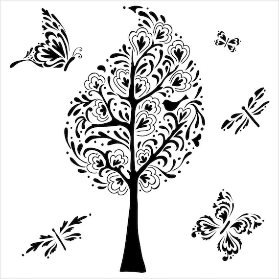 "Whimsy Garden 6"" x 6"" Stencil -tree, butterfly, and more  template design perfect for mixed media, scrapbooking, journaling and so much more"