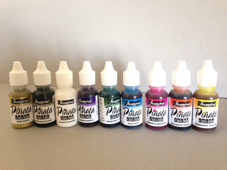 Jacquard Pinata Alcohol Ink set, exciter 9 pack contains 9 alcohol based  high vibrancy transparent colors  Perfect for polymer clay & more