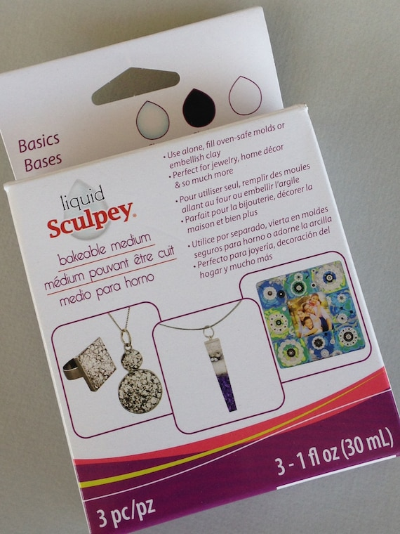 Sculpey 3 piece liquid polymer clay starter sets,  2 color sets like Basic, and Metallics, black, white, gold, silver, clear, and pearl