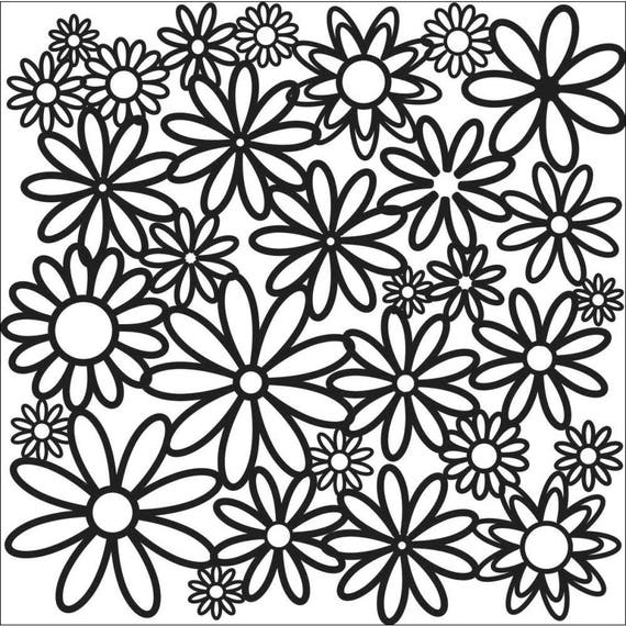 "Daisy Cluster 6"" x 6"" Stencil -tree, flowers, and more  template design perfect for mixed media, scrapbooking, journaling and so much more"