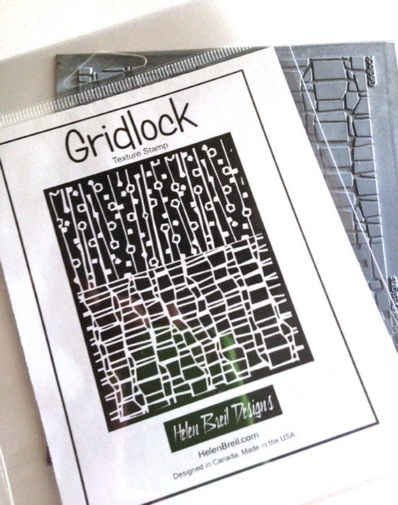 Gridlock texture stamp by Helen Breil. Unmounted stamp great for polymer claya resin clay, stamping and embossings