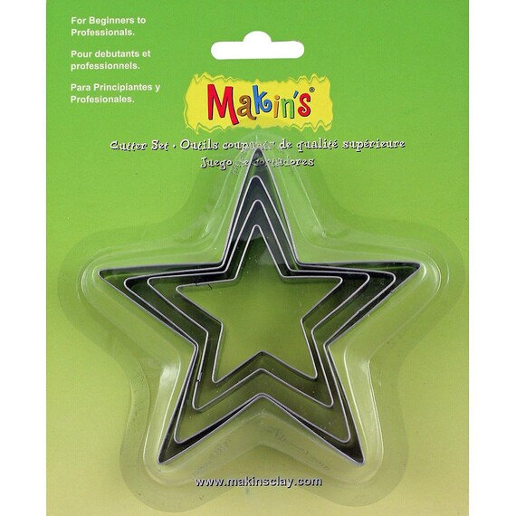 """Makins Clay Cutters- 4 Piece Set - Star cookie cutter set with sizes from """" tall"""
