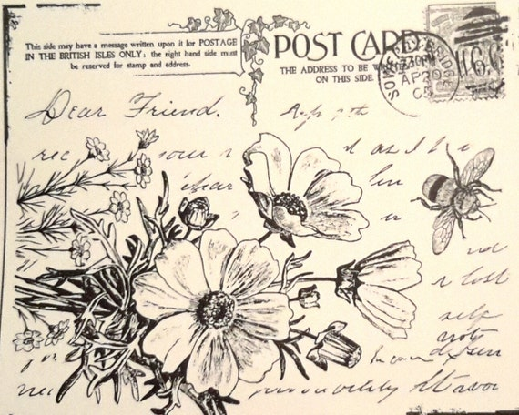 Floral Postcard, unmounted rubber stamp this stamp with wonderful poppy flowers  and writing to a friend off a vintage look