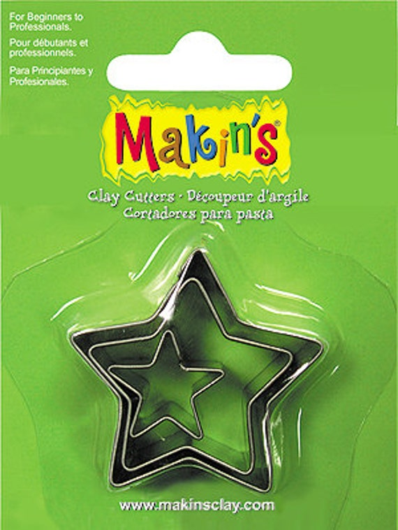 "3 piece star cookie cutter set with sizes from 7/8"" to 1-3/4"" tall"